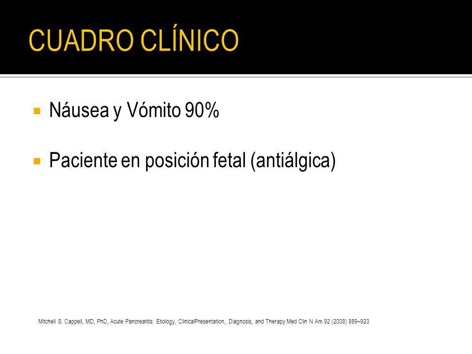 CUADRO CLÍNICO Náusea y Vómito 90%