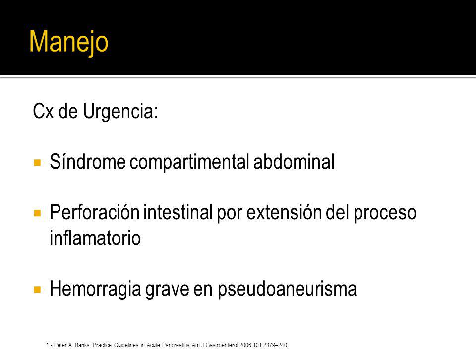 Manejo Cx de Urgencia: Síndrome compartimental abdominal