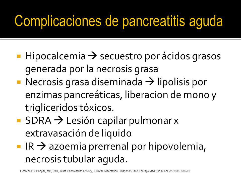 Complicaciones de pancreatitis aguda