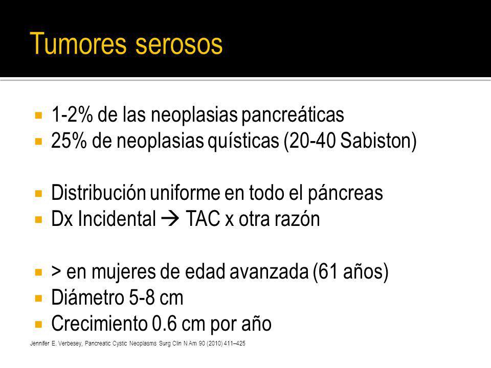 Tumores serosos 1-2% de las neoplasias pancreáticas
