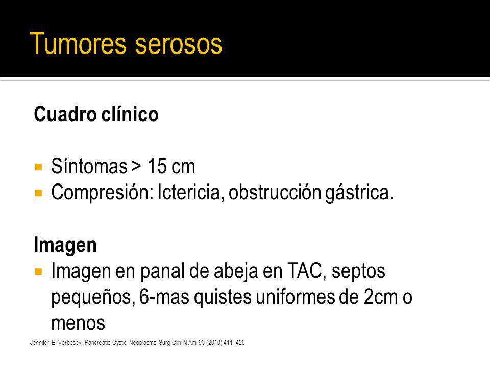 Tumores serosos Cuadro clínico Síntomas > 15 cm