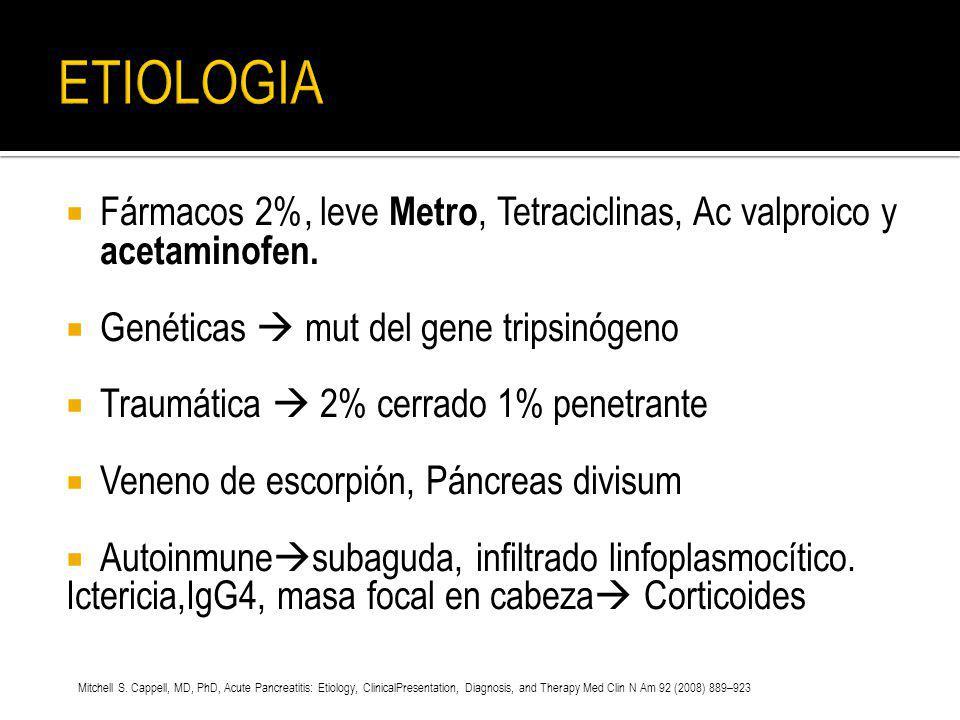 ETIOLOGIA Fármacos 2%, leve Metro, Tetraciclinas, Ac valproico y acetaminofen. Genéticas  mut del gene tripsinógeno.