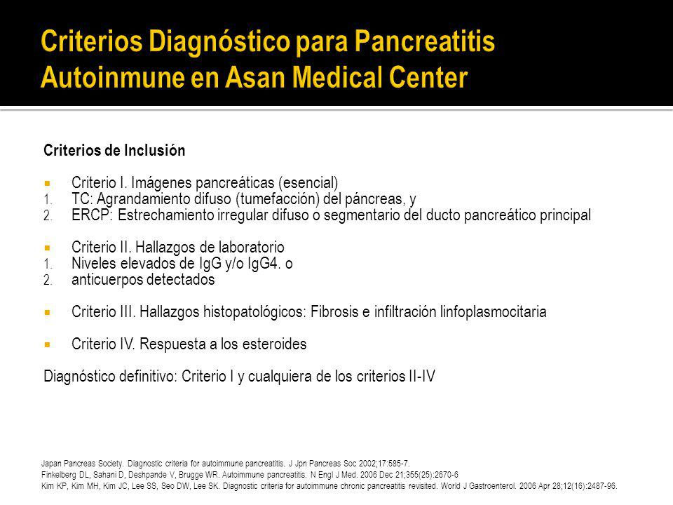 Criterios Diagnóstico para Pancreatitis Autoinmune en Asan Medical Center