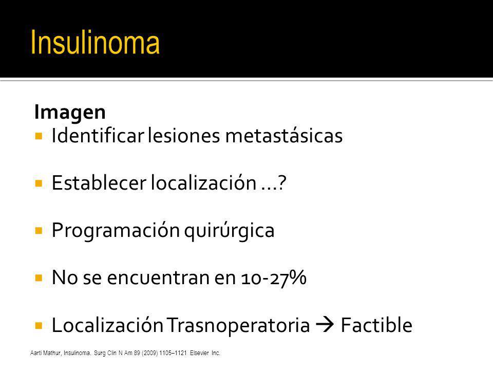 Insulinoma Imagen Identificar lesiones metastásicas