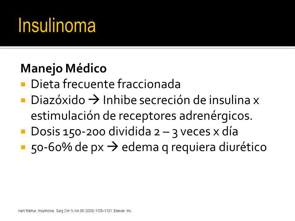 Insulinoma Manejo Médico Dieta frecuente fraccionada