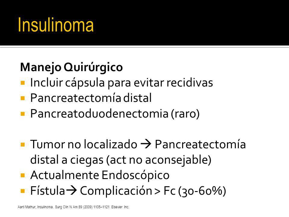 Insulinoma Manejo Quirúrgico Incluir cápsula para evitar recidivas