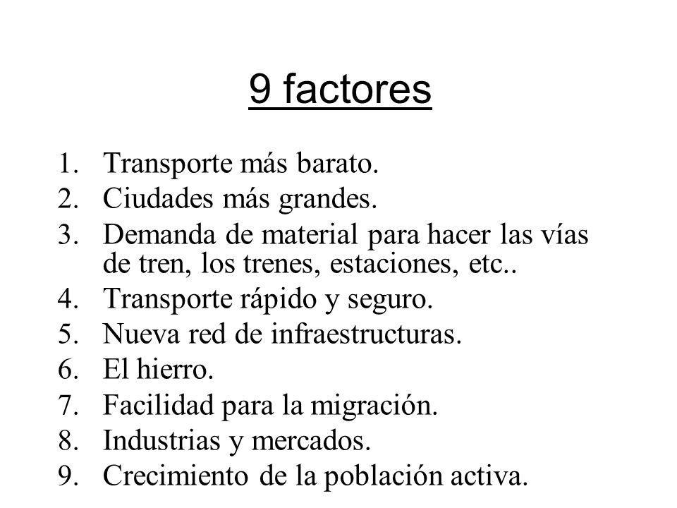 9 factores Transporte más barato. Ciudades más grandes.