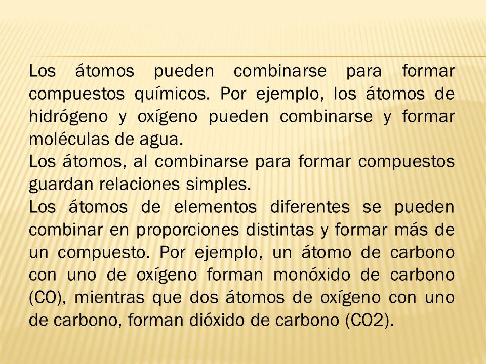 Los átomos pueden combinarse para formar compuestos químicos
