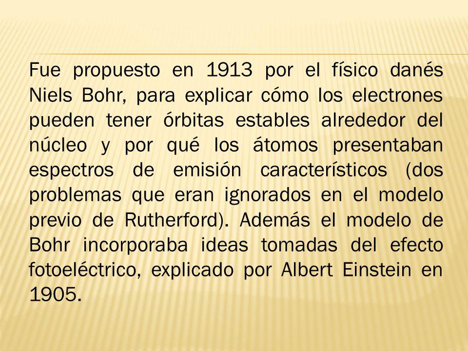 Fue propuesto en 1913 por el físico danés Niels Bohr, para explicar cómo los electrones pueden tener órbitas estables alrededor del núcleo y por qué los átomos presentaban espectros de emisión característicos (dos problemas que eran ignorados en el modelo previo de Rutherford).