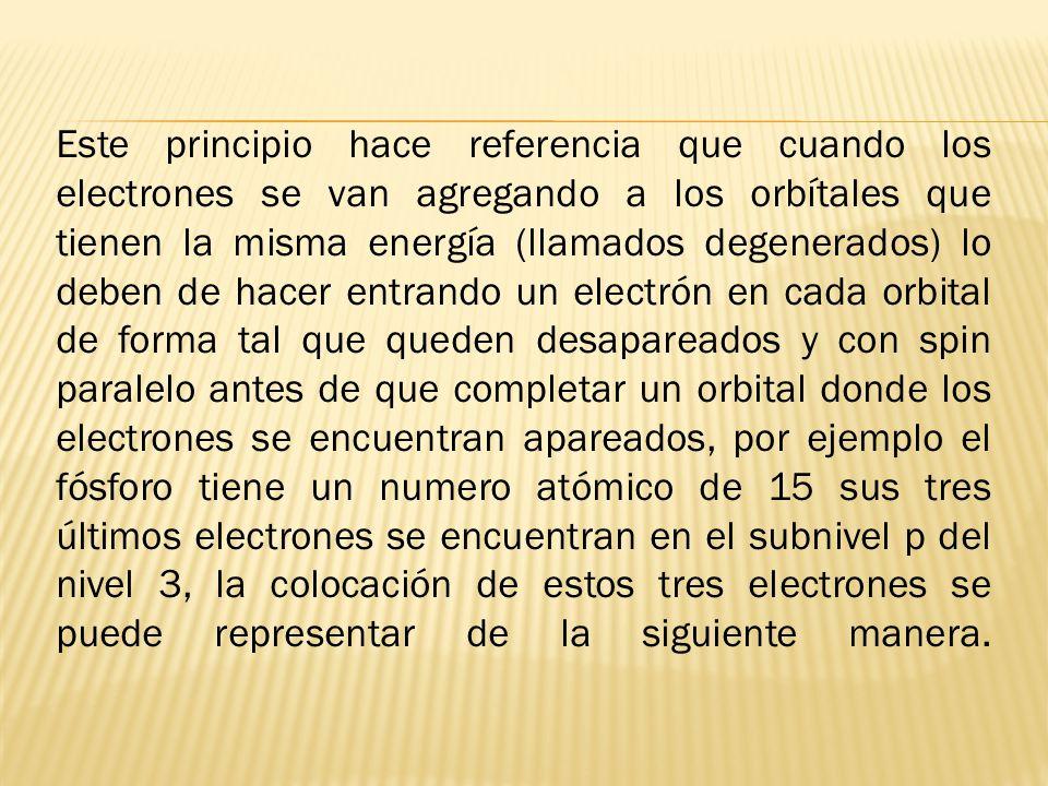 Este principio hace referencia que cuando los electrones se van agregando a los orbítales que tienen la misma energía (llamados degenerados) lo deben de hacer entrando un electrón en cada orbital de forma tal que queden desapareados y con spin paralelo antes de que completar un orbital donde los electrones se encuentran apareados, por ejemplo el fósforo tiene un numero atómico de 15 sus tres últimos electrones se encuentran en el subnivel p del nivel 3, la colocación de estos tres electrones se puede representar de la siguiente manera.