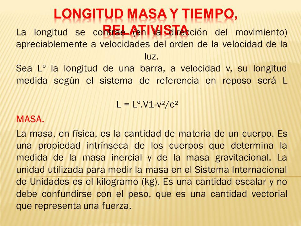 LONGITUD MASA Y TIEMPO, RELATIVISTA