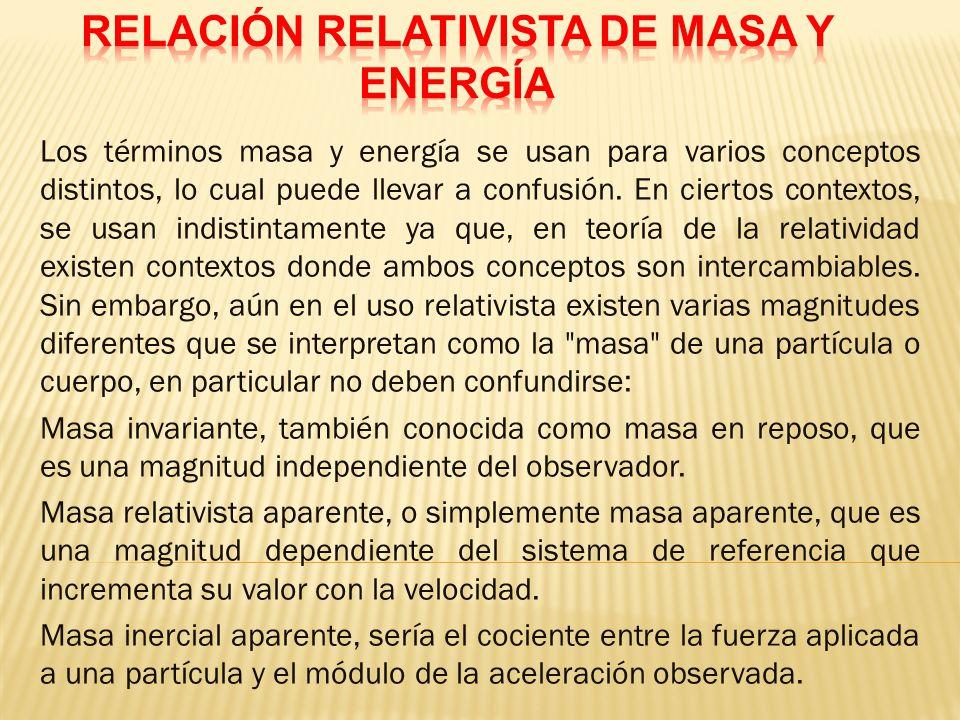 RELACIÓN RELATIVISTA DE MASA Y ENERGÍA