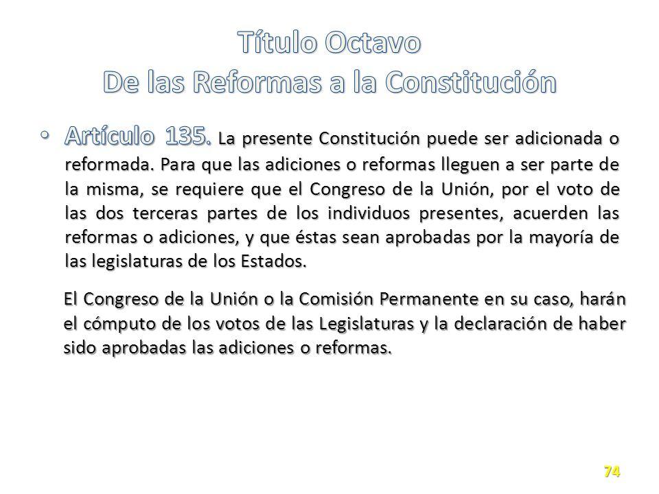 Título Octavo De las Reformas a la Constitución