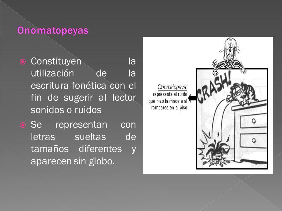 Onomatopeyas Constituyen la utilización de la escritura fonética con el fin de sugerir al lector sonidos o ruidos.