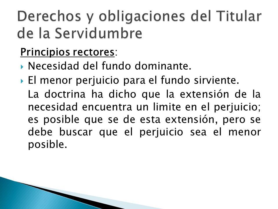 Derechos y obligaciones del Titular de la Servidumbre