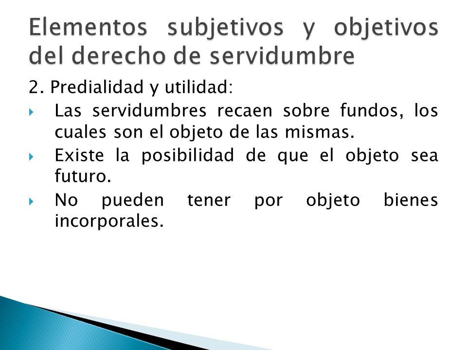 Elementos subjetivos y objetivos del derecho de servidumbre