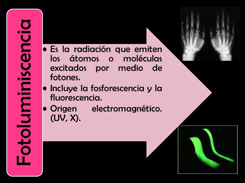 Incluye la fosforescencia y la fluorescencia.