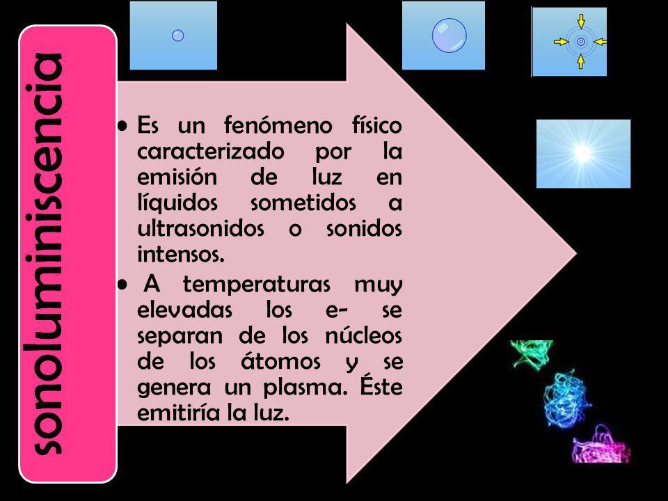 sonoluminiscencia Es un fenómeno físico caracterizado por la emisión de luz en líquidos sometidos a ultrasonidos o sonidos intensos.