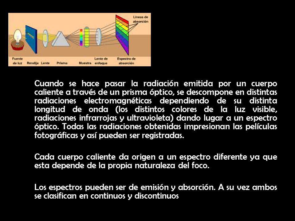Cuando se hace pasar la radiación emitida por un cuerpo caliente a través de un prisma óptico, se descompone en distintas radiaciones electromagnéticas dependiendo de su distinta longitud de onda (los distintos colores de la luz visible, radiaciones infrarrojas y ultravioleta) dando lugar a un espectro óptico. Todas las radiaciones obtenidas impresionan las películas fotográficas y así pueden ser registradas.