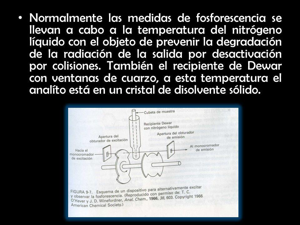 Normalmente las medidas de fosforescencia se llevan a cabo a la temperatura del nitrógeno líquido con el objeto de prevenir la degradación de la radiación de la salida por desactivación por colisiones.