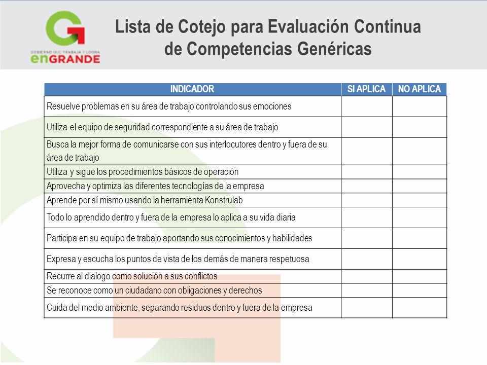 Lista de Cotejo para Evaluación Continua de Competencias Genéricas