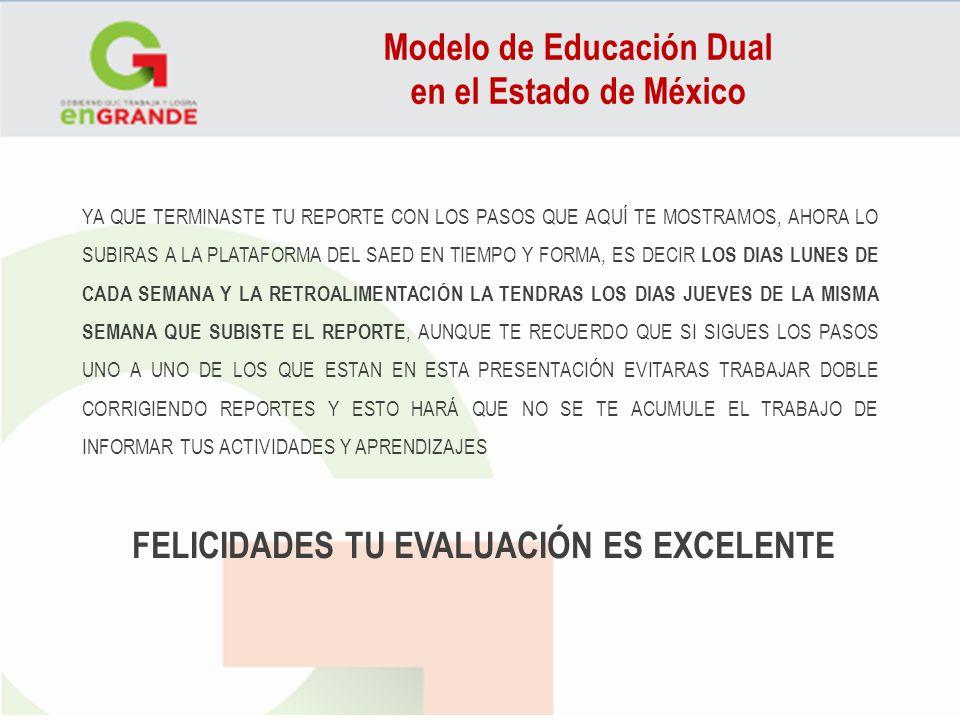 Modelo de Educación Dual FELICIDADES TU EVALUACIÓN ES EXCELENTE