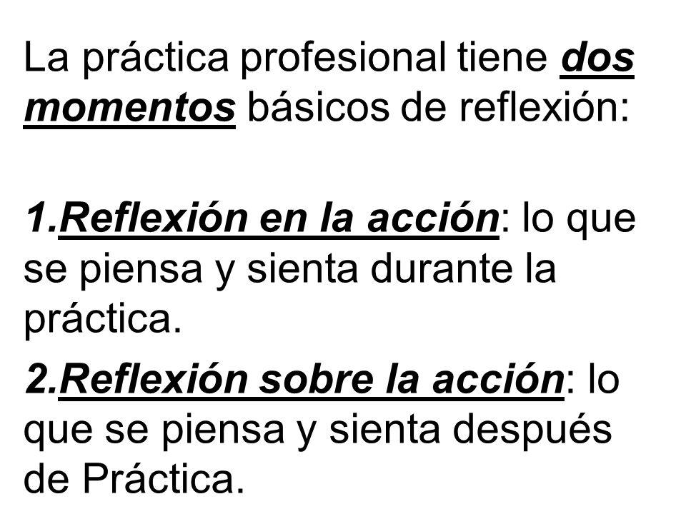 La práctica profesional tiene dos momentos básicos de reflexión: