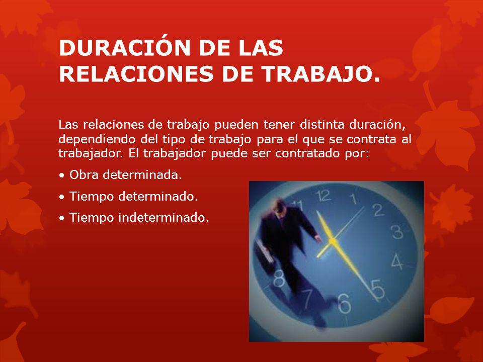 DURACIÓN DE LAS RELACIONES DE TRABAJO.