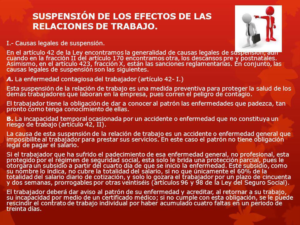 SUSPENSIÓN DE LOS EFECTOS DE LAS RELACIONES DE TRABAJO.