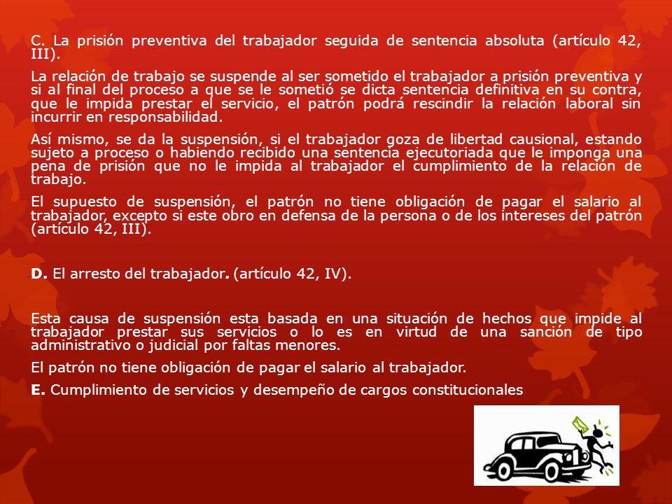 C. La prisión preventiva del trabajador seguida de sentencia absoluta (artículo 42, III).