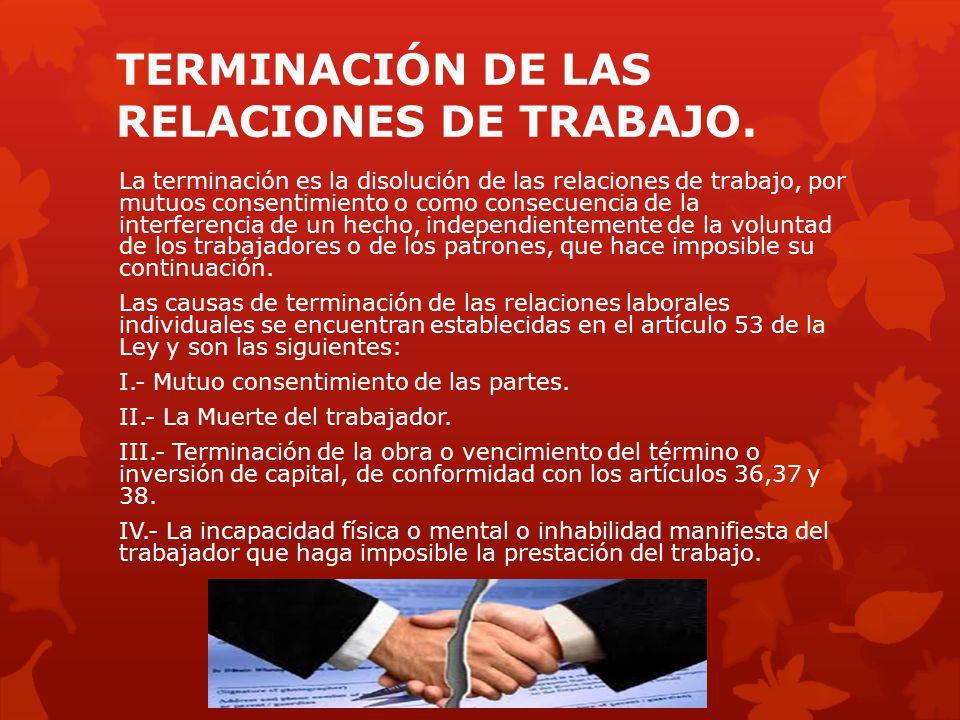 TERMINACIÓN DE LAS RELACIONES DE TRABAJO.