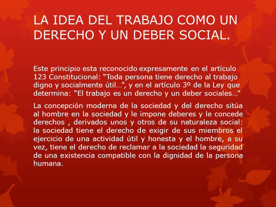 LA IDEA DEL TRABAJO COMO UN DERECHO Y UN DEBER SOCIAL.