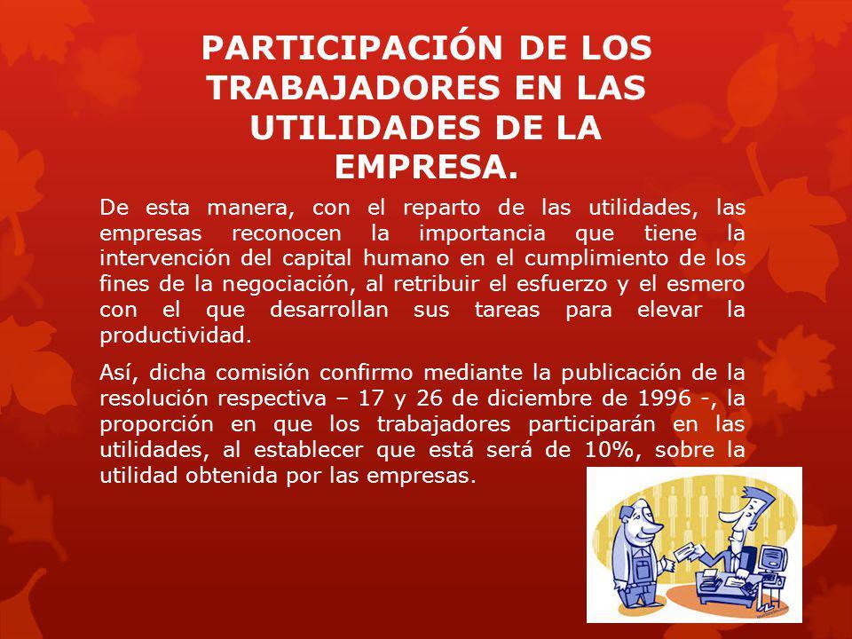 PARTICIPACIÓN DE LOS TRABAJADORES EN LAS UTILIDADES DE LA EMPRESA.