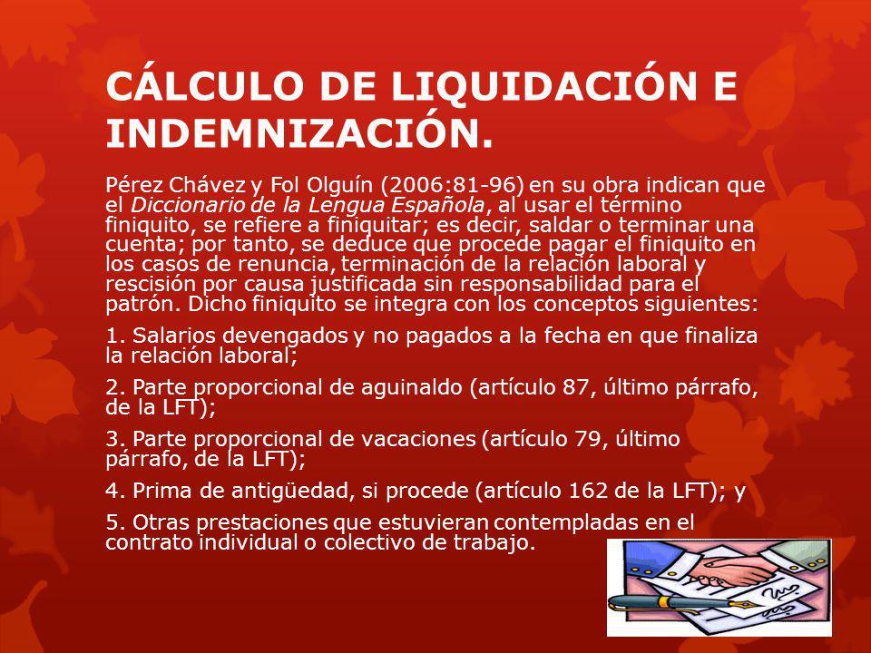 CÁLCULO DE LIQUIDACIÓN E INDEMNIZACIÓN.