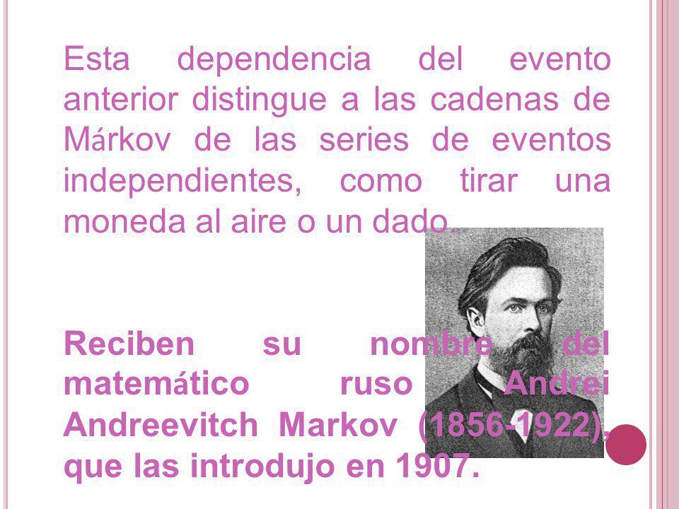 Esta dependencia del evento anterior distingue a las cadenas de Márkov de las series de eventos independientes, como tirar una moneda al aire o un dado.