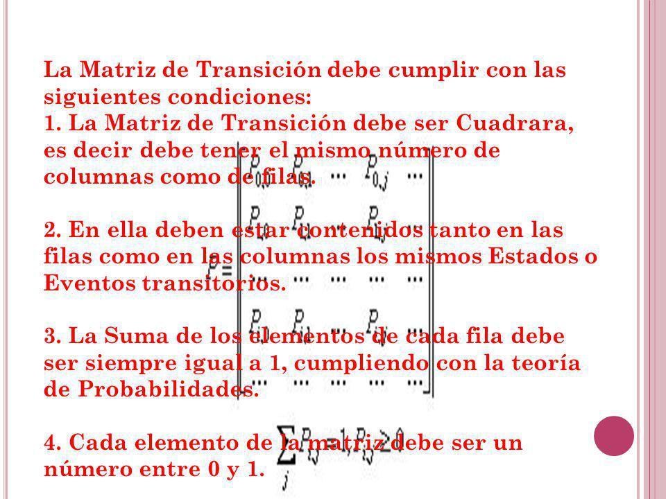 La Matriz de Transición debe cumplir con las siguientes condiciones: