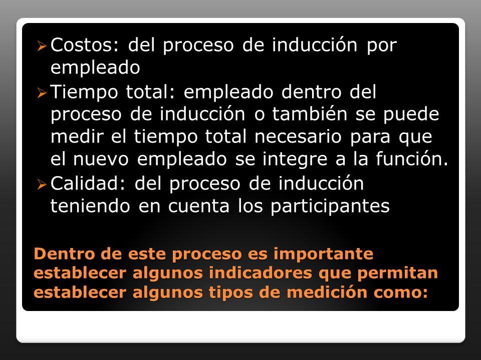 Costos: del proceso de inducción por empleado