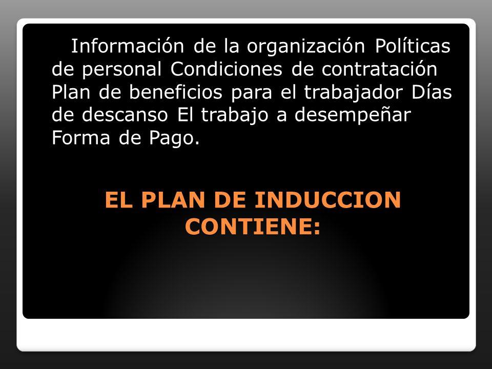 EL PLAN DE INDUCCION CONTIENE: