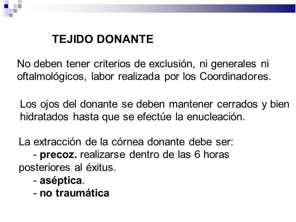 TEJIDO DONANTE No deben tener criterios de exclusión, ni generales ni oftalmológicos, labor realizada por los Coordinadores.