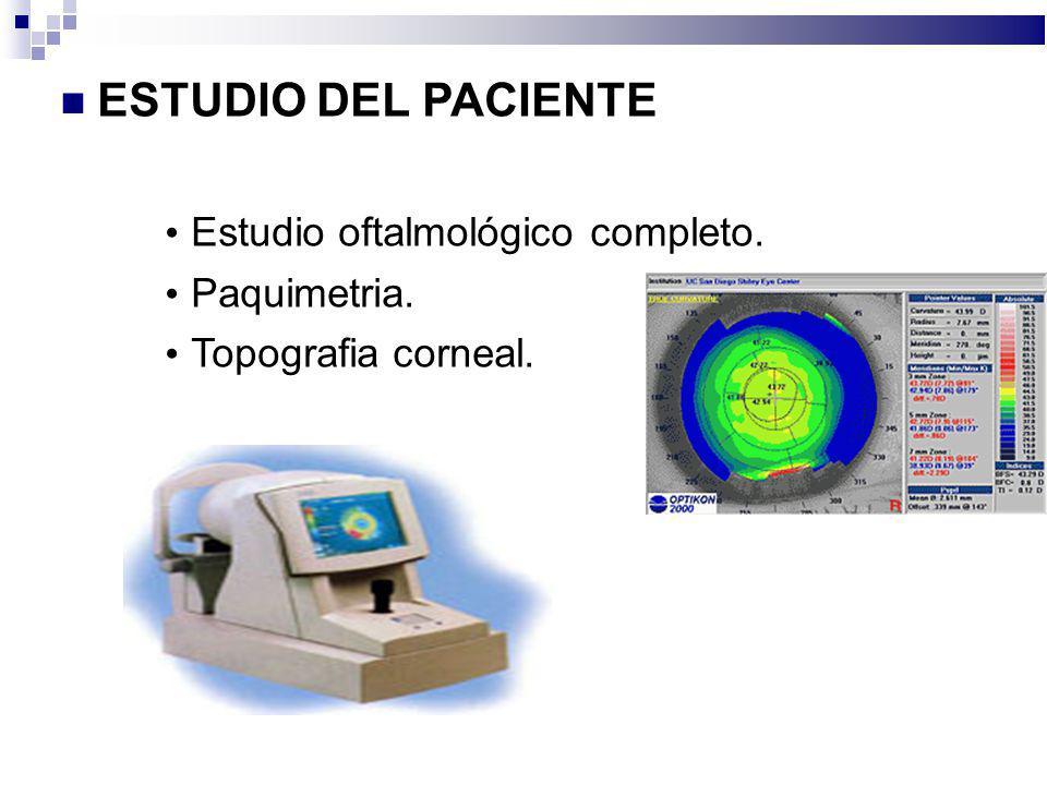 ESTUDIO DEL PACIENTE Estudio oftalmológico completo. Paquimetria.