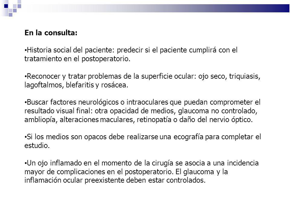 En la consulta: Historia social del paciente: predecir si el paciente cumplirá con el tratamiento en el postoperatorio.