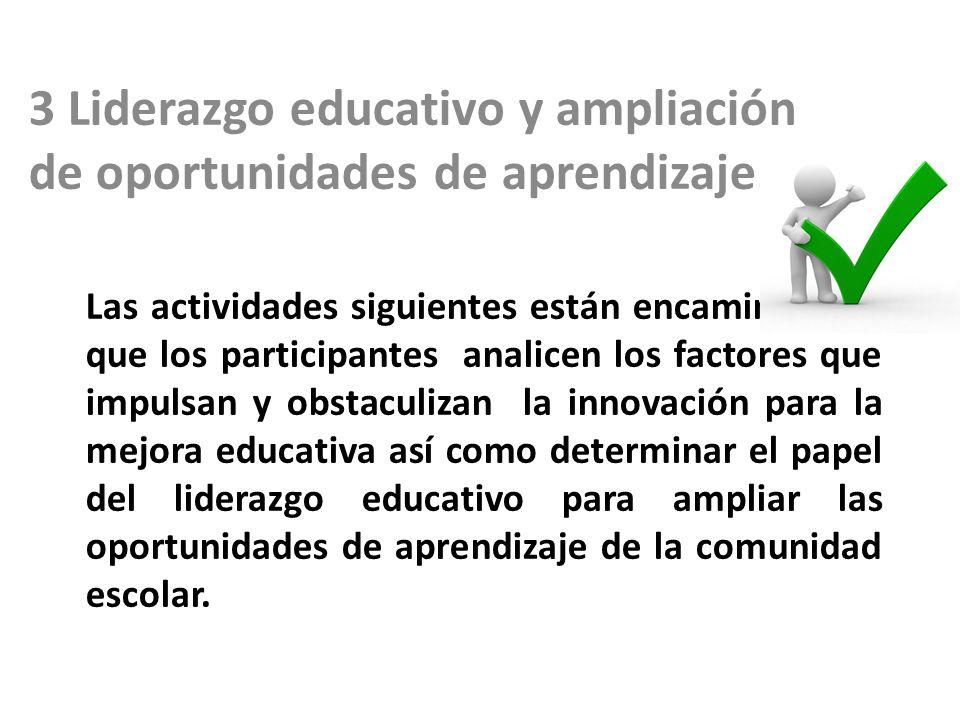 3 Liderazgo educativo y ampliación de oportunidades de aprendizaje.
