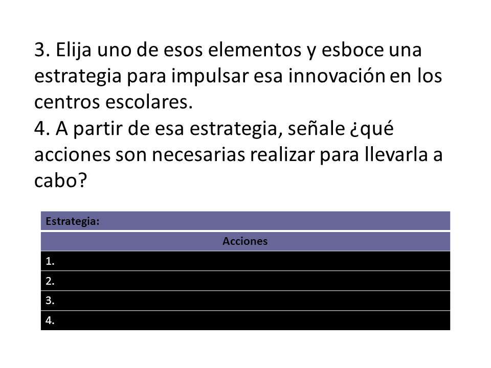 3. Elija uno de esos elementos y esboce una estrategia para impulsar esa innovación en los centros escolares.