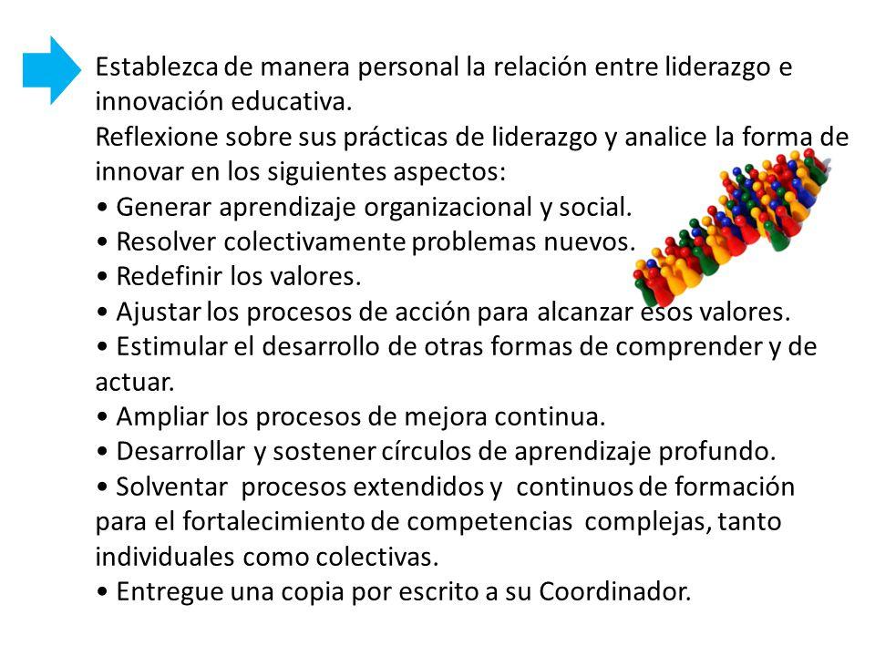 Establezca de manera personal la relación entre liderazgo e innovación educativa.