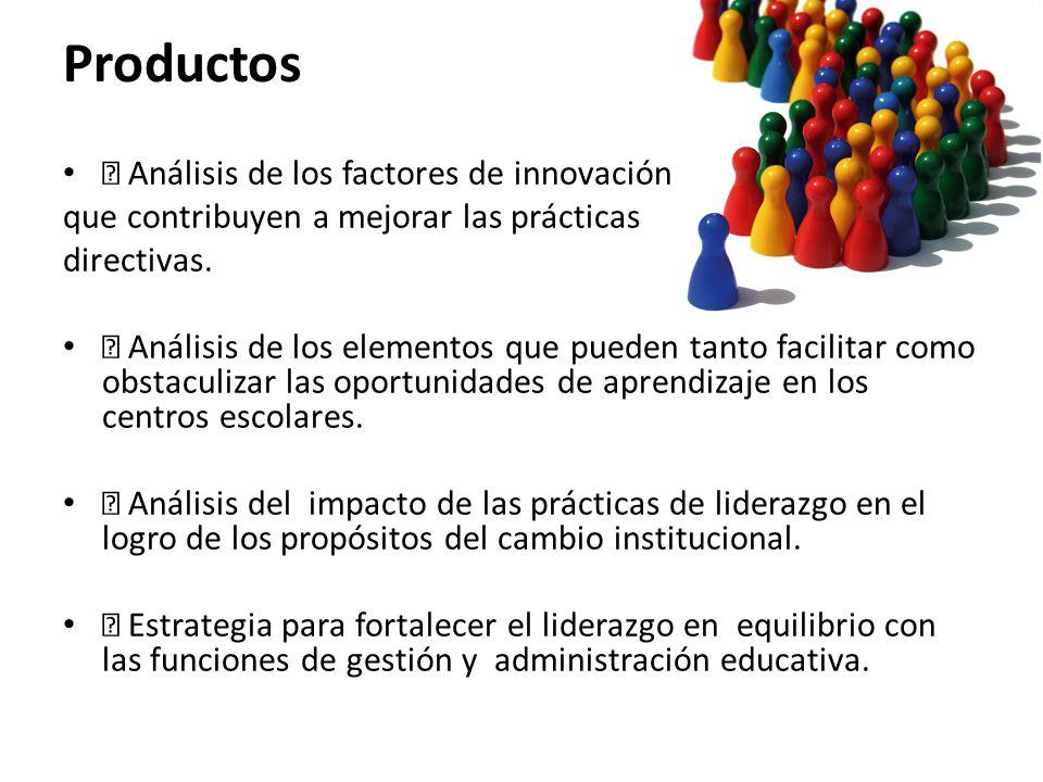 Productos • Análisis de los factores de innovación