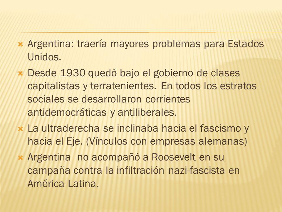 Argentina: traería mayores problemas para Estados Unidos.