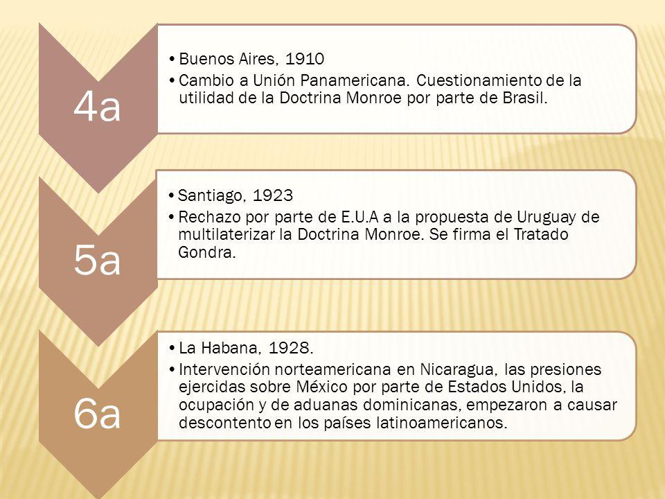 4a Buenos Aires, 1910. Cambio a Unión Panamericana. Cuestionamiento de la utilidad de la Doctrina Monroe por parte de Brasil.