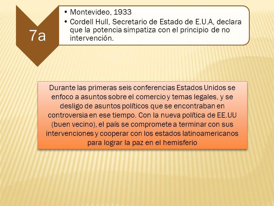 7a Montevideo, 1933. Cordell Hull, Secretario de Estado de E.U.A, declara que la potencia simpatiza con el principio de no intervención.