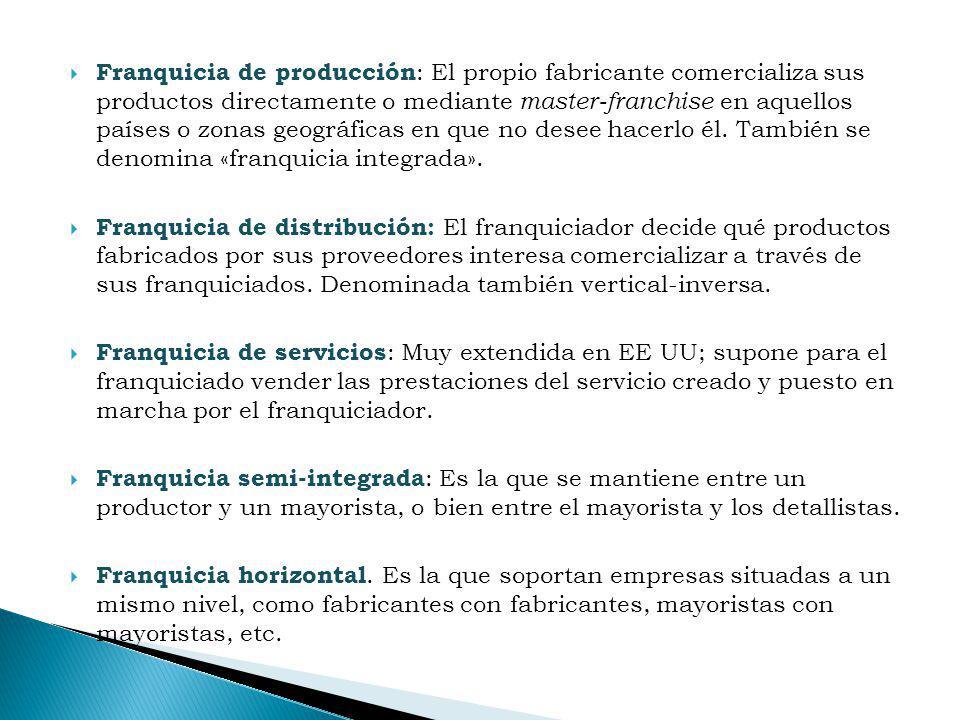 Franquicia de producción: El propio fabricante comercializa sus productos directamente o mediante master-franchise en aquellos países o zonas geográficas en que no desee hacerlo él. También se denomina «franquicia integrada».