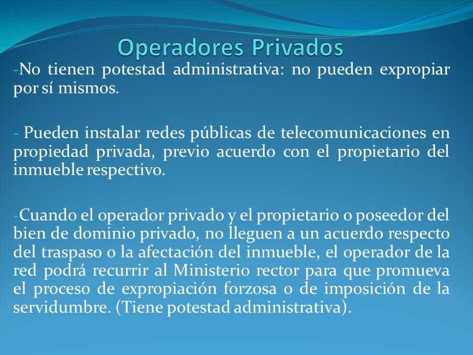 Operadores Privados No tienen potestad administrativa: no pueden expropiar por sí mismos.